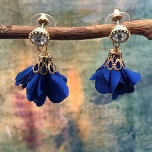 Royal Blue Silky flower earrings